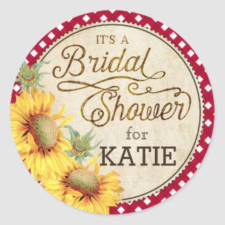 Sunflower Gingham Check Rustic Bridal Shower Label Round Sticker