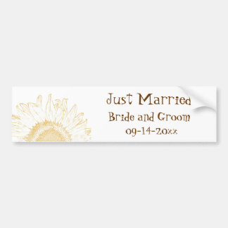 Sunflower Graphic Just Married Bumper Sticker
