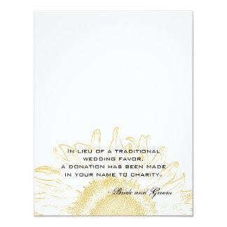 "Sunflower Graphic Wedding Charity Favor Card 4.25"" X 5.5"" Invitation Card"