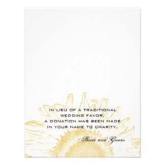 Sunflower Graphic Wedding Charity Favor Card Personalized Invitation