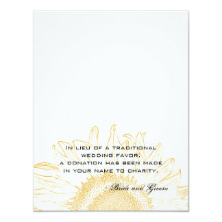"Sunflower Graphic Wedding Charity Favor Card 4.25"" X 5.5"" Invitation Card"