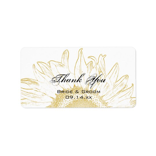 Sunflower Graphic Wedding Thank You Favour Tags