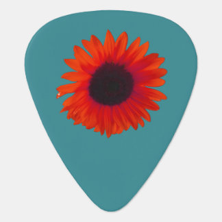 Sunflower Guitar Pick (Orange and Teal)