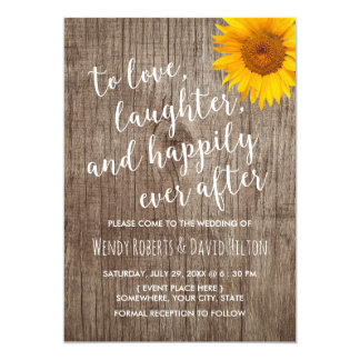 Sunflower Happily Ever After Rustic Wood Wedding Card
