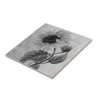 Sunflower Helianthus Monochrome Tile