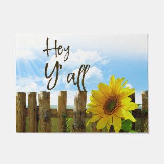 Sunflower Hey Y'all Doormat