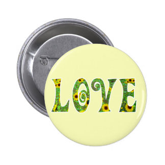 Sunflower Hippy Love 2 Inch Round Button