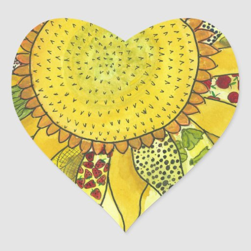 Sunflower II Heart Sticker