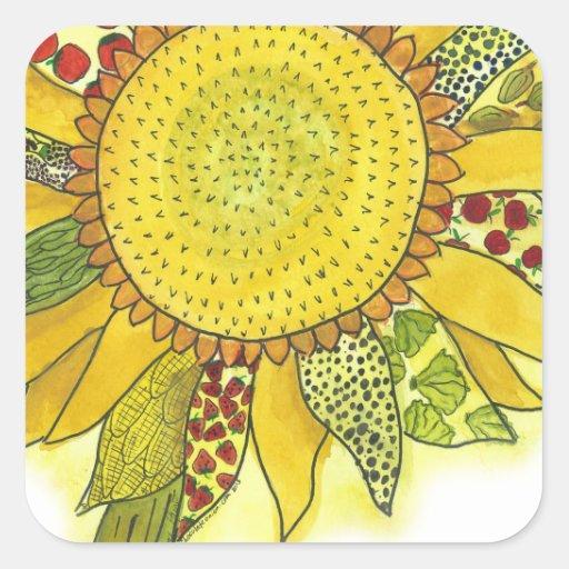 Sunflower II Square Stickers