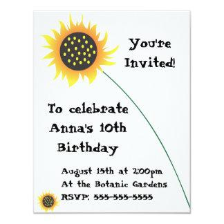 Sunflower Illustration Birthday Invitation