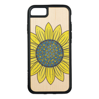 Sunflower Illustration Carved iPhone 7 Case