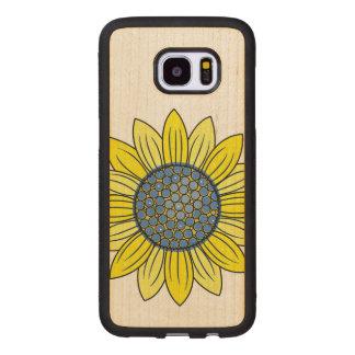 Sunflower Illustration Wood Samsung Galaxy S7 Edge Case