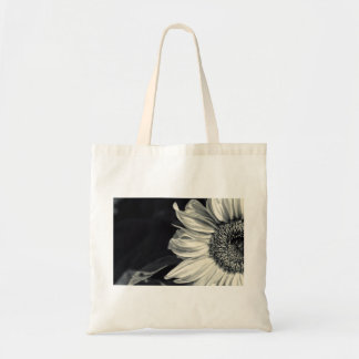 Sunflower in black-and-white tote bag