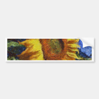 Sunflower In Van Gogh Style Bumper Sticker