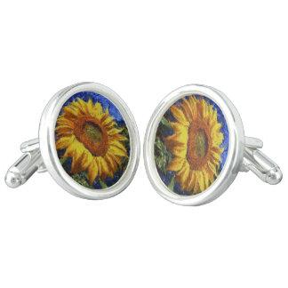 Sunflower In Van Gogh Style Cuff Links