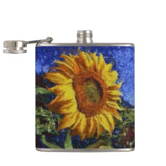 Sunflower In Van Gogh Style Hip Flask