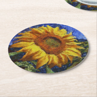 Sunflower In Van Gogh Style Round Paper Coaster