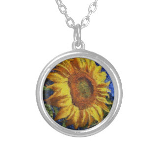 Sunflower In Van Gogh Style Silver Plated Necklace