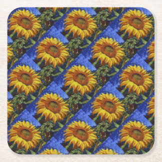 Sunflower In Van Gogh Style Square Paper Coaster