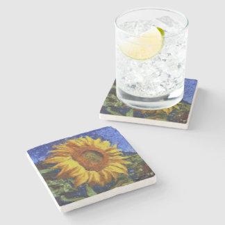 Sunflower In Van Gogh Style Stone Beverage Coaster