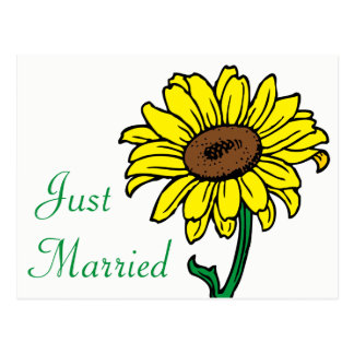 Sunflower Just Married Yellow & Green Wedding Postcard