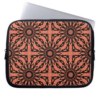 """Sunflower kaleidoscope in peach and black 10"""" laptop computer sleeves"""