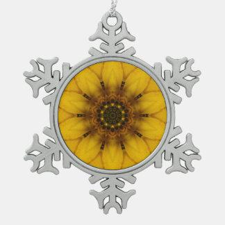 sunflower kaleidoscope snowflake pewter christmas ornament