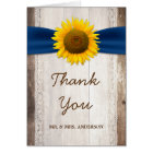 Sunflower Lace Navy Ribbon Barn Wood Thank You Card