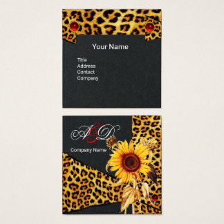SUNFLOWER,LEOPARD FUR RIBBON,RED RUBY Black Paper Square Business Card