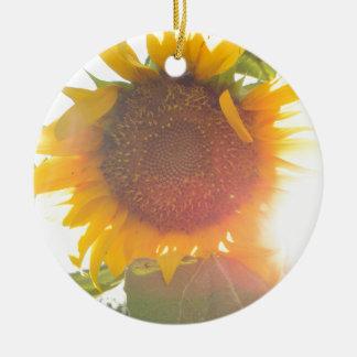Sunflower Light Ceramic Ornament