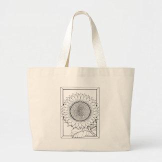Sunflower Line Art Design Large Tote Bag