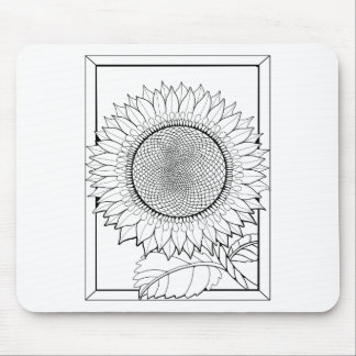 Sunflower Line Art Design Mouse Pad