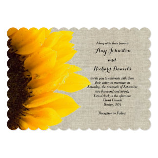 "Sunflower Linen Rustic Wedding Invitation 5"" X 7"" Invitation Card"