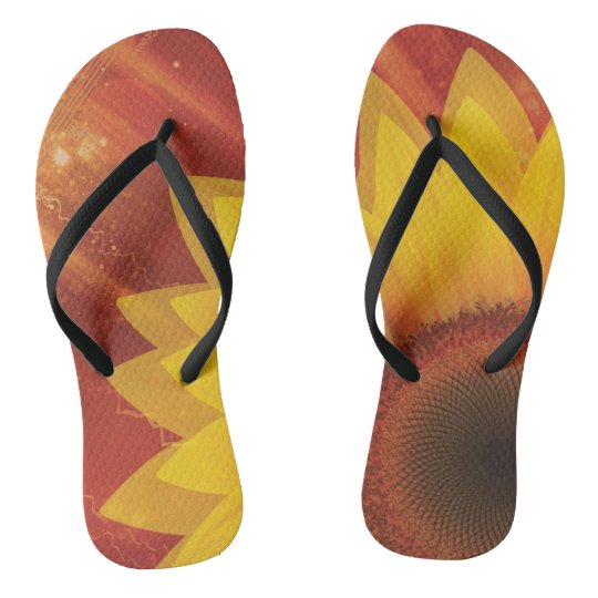 Sunflower, Love and happiness Flip Flops