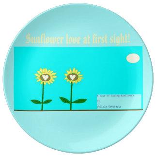 Sunflower love porcelain plate