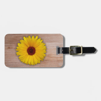Sunflower Marigold on Rustic Wooden Boards Bag Tag