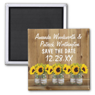 Sunflower Mason Jar Burlap and Lace Save the Date Square Magnet