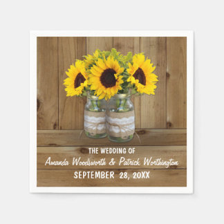 Sunflower Mason Jar Burlap + Lace Wedding Napkins Paper Napkin