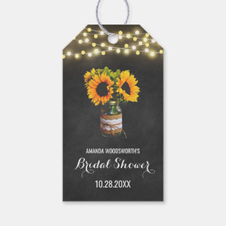 Sunflower Mason Jar Chalkboard Bridal Shower Pack Of Gift Tags