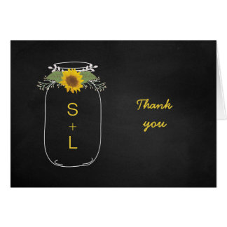 Sunflower Mason Jar Chalkboard wedding thank you Card