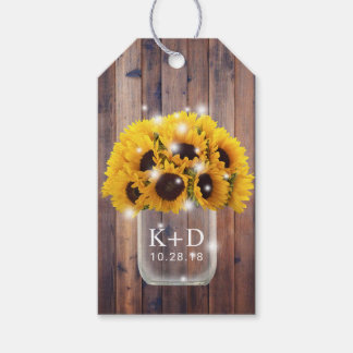 Sunflower Mason Jar Rustic Barn Wood Wedding Gift Tags