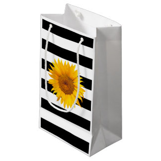 Sunflower Modern Black & White Stripes Small Gift Bag