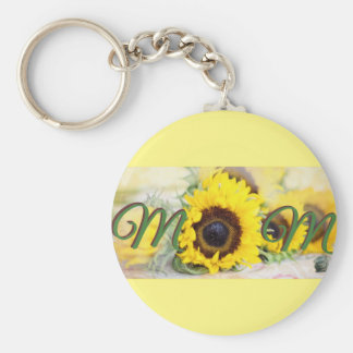 Sunflower Mom Basic Round Button Keychain