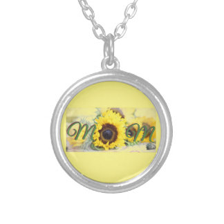 Sunflower Mom Silver Plated Necklace