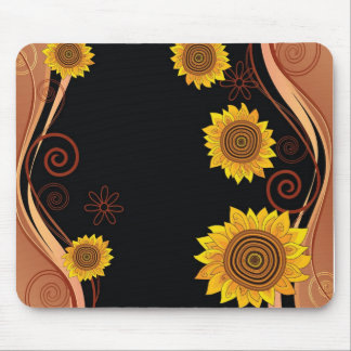 Sunflower Mousepad on Black