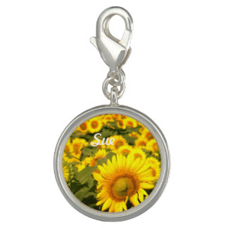 Sunflower name or initial charm