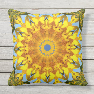 Sunflower Nature, Flower-Mandala Throw Pillow