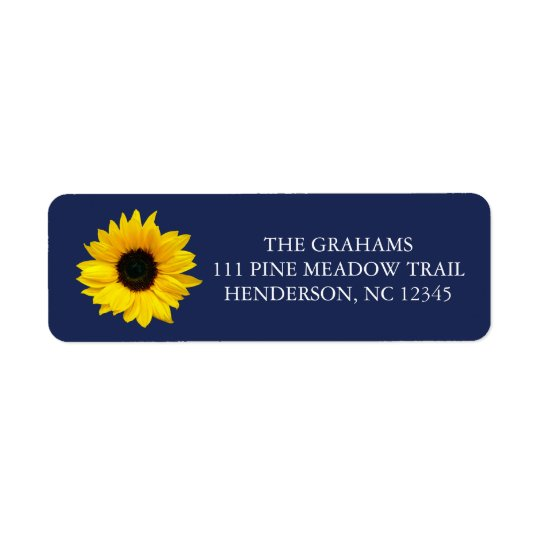 Sunflower Navy Blue Return Address Label