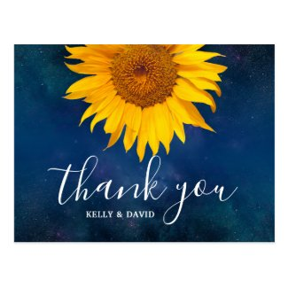 Sunflower Navy Blue Summer Wedding Thank You Postcard