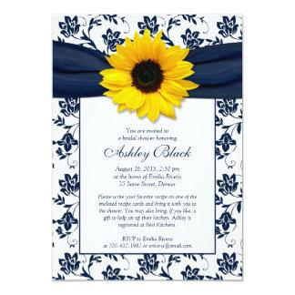 Sunflower Navy Damask Bridal Shower Invitation